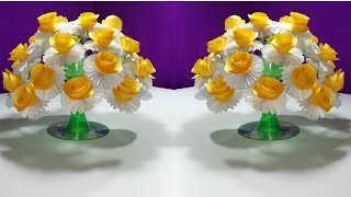 How to make Beautiful paper Rose flowers    Easy wonderful flower from plastic bottle vase
