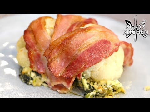 Bacon Wrapped Cauliflower With Cheese Stuffing | Low Carb Keto Recipe