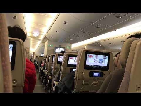 In The Flight of Emirates A380 Airline from Dubai to Barcelona