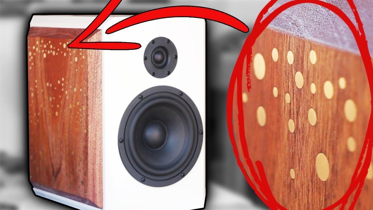 High-End Bookshelf Speaker Build   Fusion 360 CNC Brass & Mahogany DIY Inlay