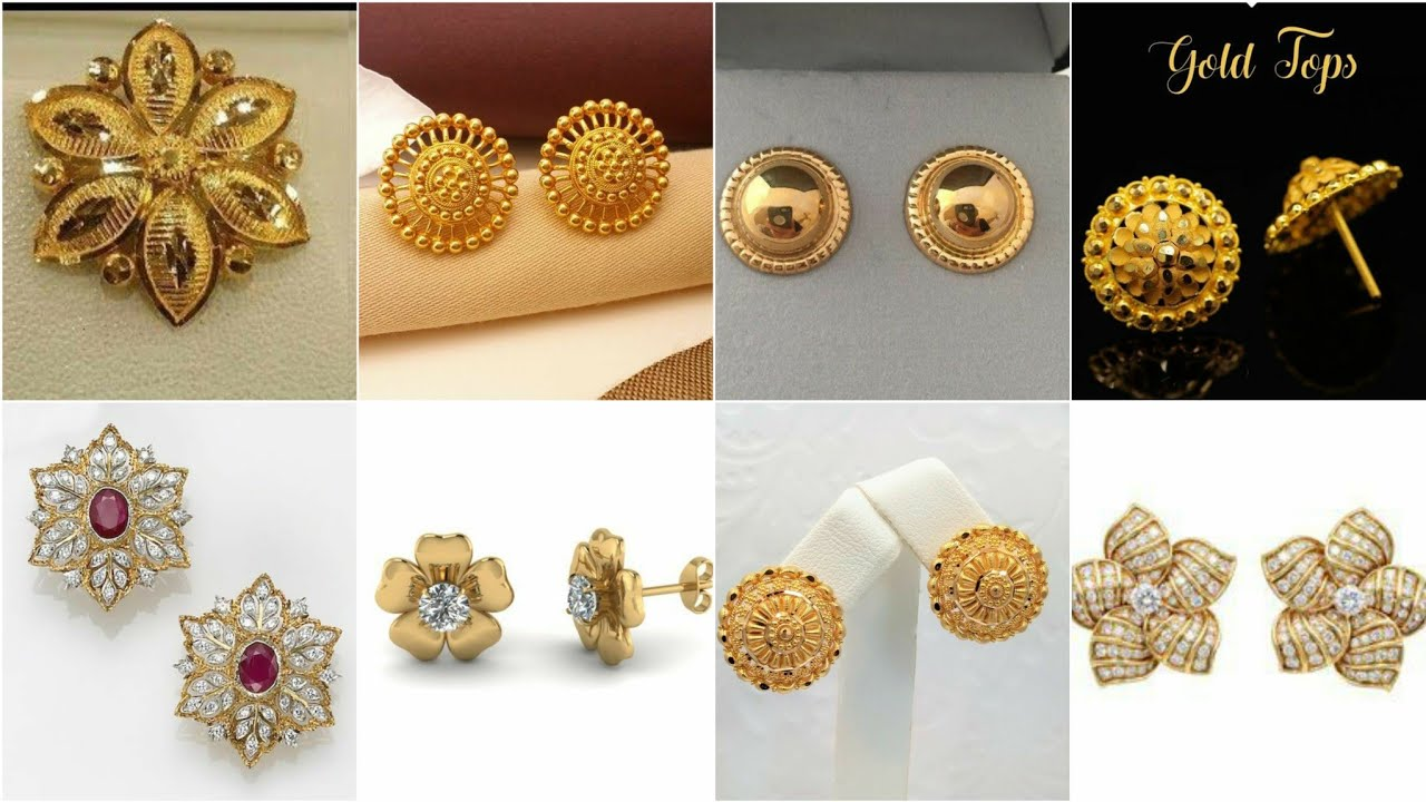 Under 2 gram Gold Tops Designs/Daily Wear Gold Studs Earrings Style/70+ gold Studs