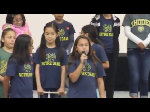 Notre Dame Fight Song performed by elementary class with recorders