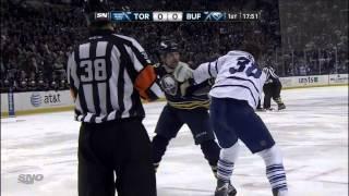 John Scott vs Frazer McLaren fight Mar 21 2013 Toronto Maple Leafs vs Buffalo Sabres NHL Hockey