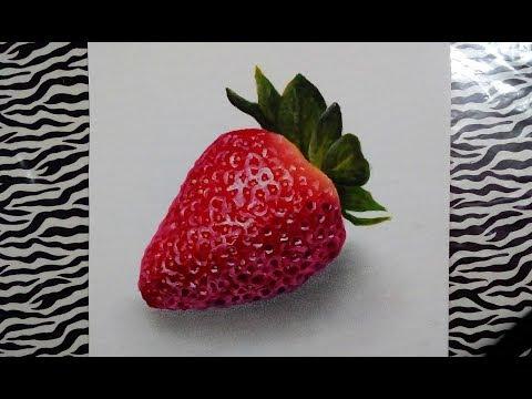 Dibujando una fresa 🍓  realista HD ( camara rapida)   Drawing a strawberry 🍓   HD