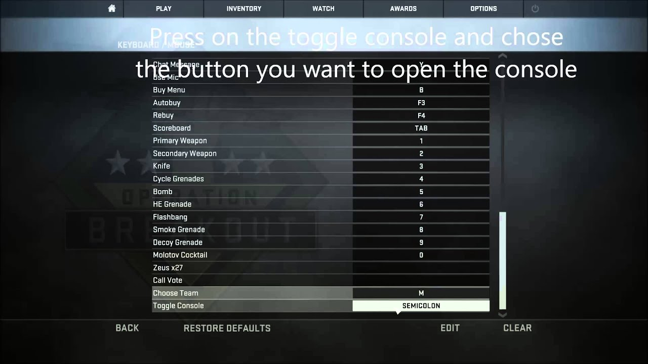 how to open console in counter strike 1.6