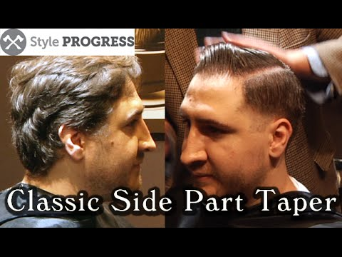 Vintage Hairstyle Traditional Mens Taper Haircut With Side Part