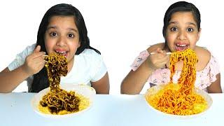 شفا و سوسو يصنعون نودلز رهيب !! Pretend Play Making Chocolate and Black Noodles