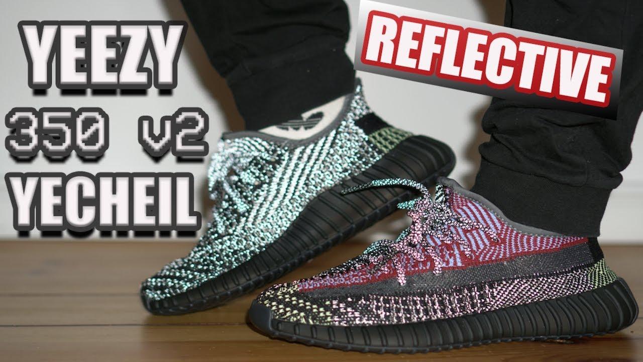 yeezy reflective on feet