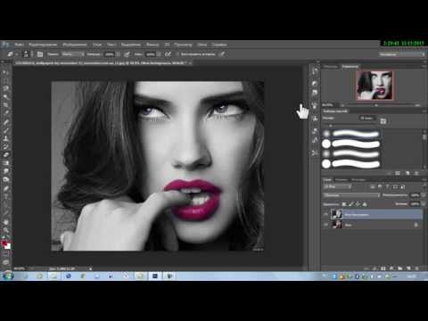 #5//Фотошоп//Красные губы на чёрно-белом портрете.// 5 Урок