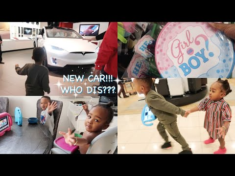 tesla-modelx-for-the-win?-|-gender-reveal-+-4th-birthday-party-shopping-spree!!!