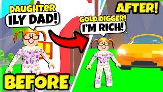 I Adopted a NEW Daughter.. She was SECRETLY A Gold Digger! (Roblox Adopt Me)