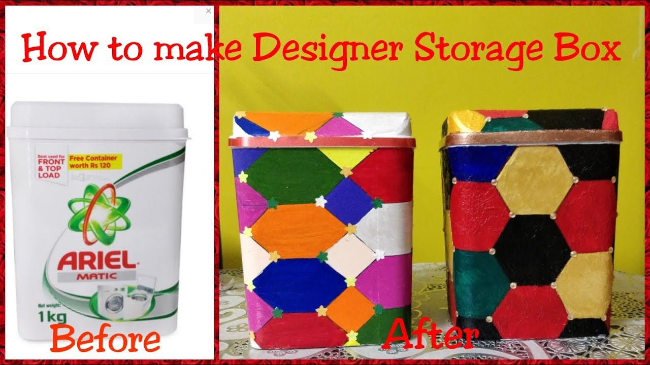 How To Make Designer Storage Box Using Plastic Box / Best Out Of Waste /  Innovative Craft Idea