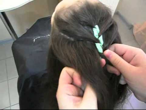 Плетение косы с лентой Способ 2 (Наталья Ткаченко)