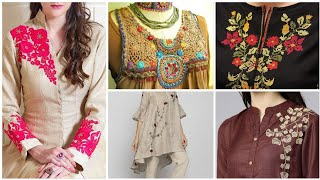 easy & very beautiful embroidry Patterns Designs & ideas/neck & front yoke designes
