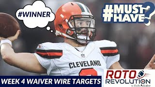 2018 Fantasy Football - Week 4 Waiver Wire Players To Target