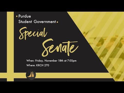 Purdue Student Government Special Senate: 11/18/16