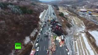 Aerial footage: 17 killed in 56 car pile up in China