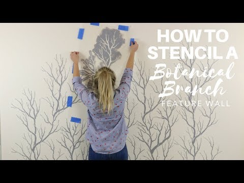 How To Stencil A Trendy Grey And White Botanical Branch Feature Wall Using Stencils