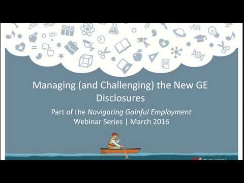Gainful Employment - Mananging and Challenging the New GE Di