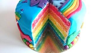 Tarta arcoiris - Rainbow Cake Postres Mil