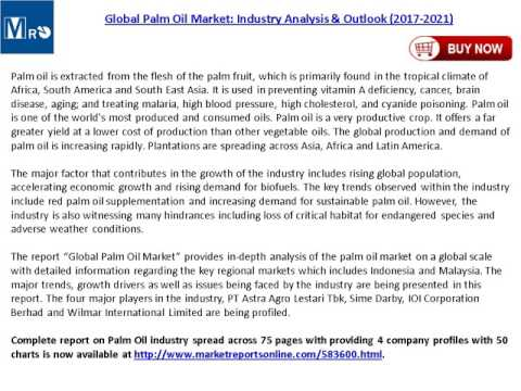 Palm Oil Market Global Industry Analysis, Trends, Share, Size, Outlook and 2017-2021 Forecasts