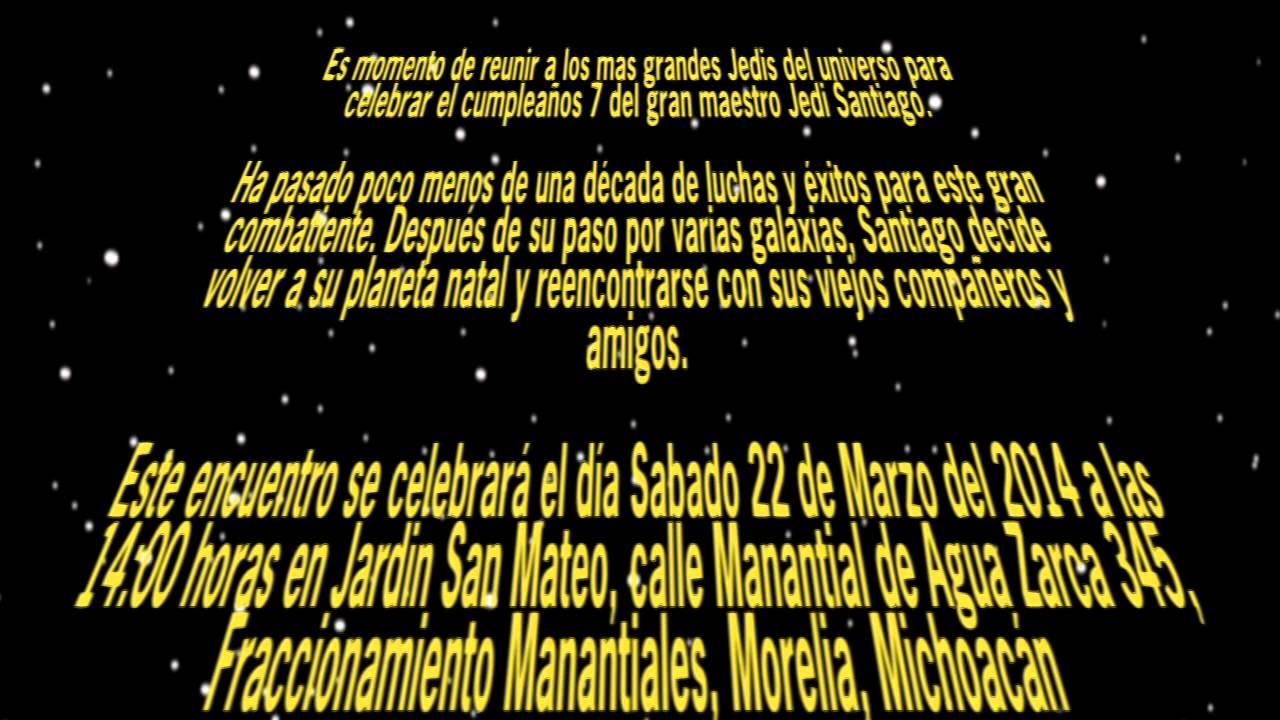 Invitación De Santiago Star Wars Youtube
