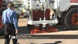 dr brady cox demos a large scale mobile shaker used for earthquake simulation