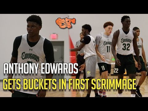 ANTHONY EDWARDS GETS BUCKETS IN FIRST SCRIMMAGE!!!