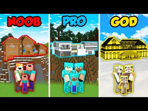 Minecraft Noob Vs Pro Vs God Hillside Mansion In Minecraft Animation Youtube