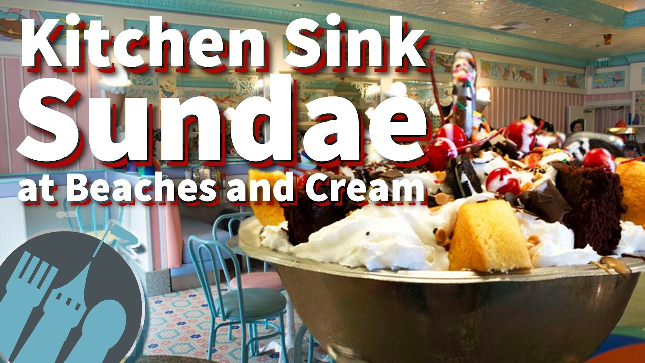 The Kitchen Sink Sundae at Beaches and Cream! - YouTube on christmas ice, bar sink ice, freezer ice,
