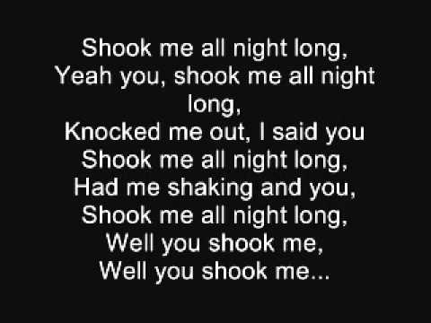 ACDC You shook me all night long Lyrics