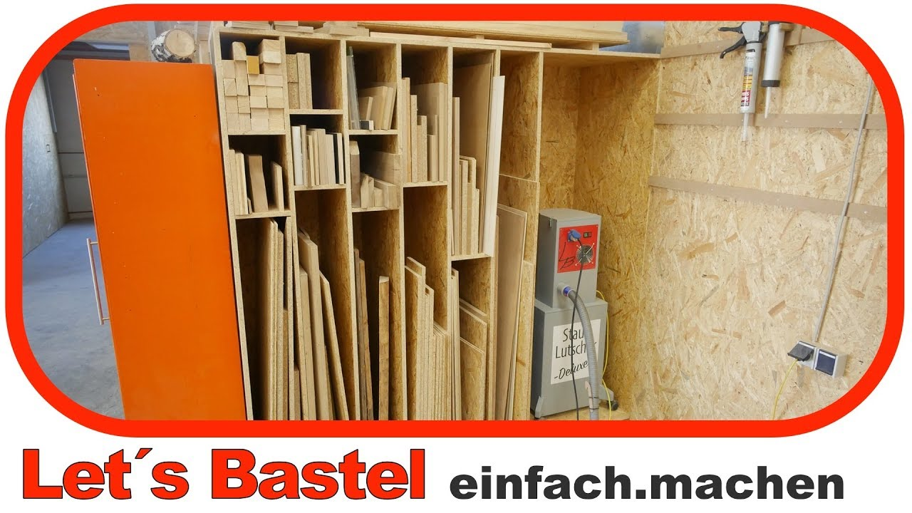 4 holzlager plattenlager f r die werkstatt selber bauen lets bastel youtube. Black Bedroom Furniture Sets. Home Design Ideas
