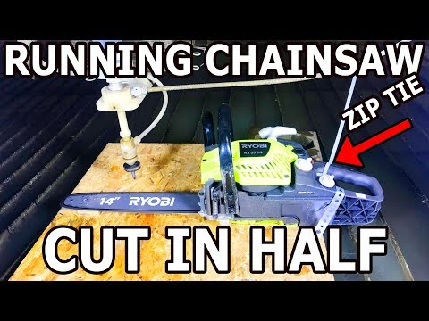 What happens when you cut a RUNNING chainsaw with a waterjet? Don't try this at home.