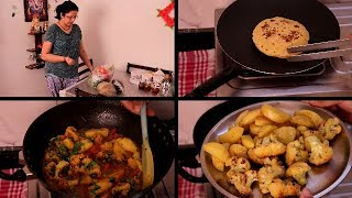 Indian Dinner Routine | Simple Dinner Routine | Making Aloo gobhi matar , makki ki roti | hindivlog
