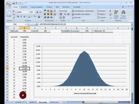 Excel 2007 - Lezione n°9 - Analisi dati. Variabile casuale binomiale