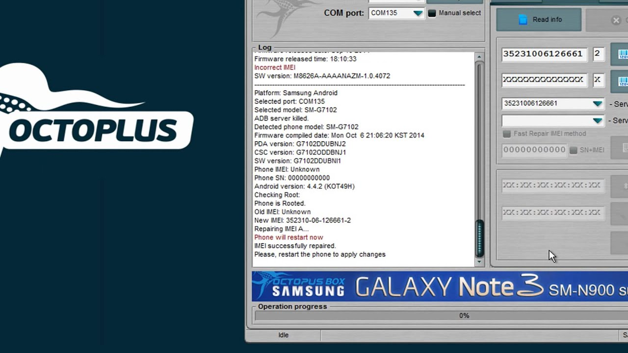 Samsung Sm G7102 Repair Imei With Octoplus Box Youtube