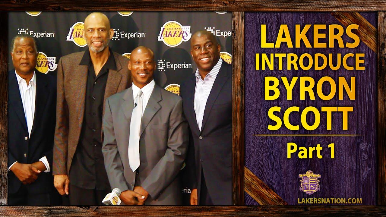 Magic Johnson Kareem Jamaal Wilkes Introduce Byron Scott As