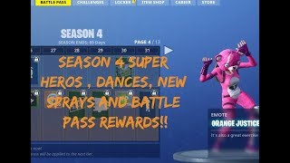 FORTNITE SEASON 4 BATTLE PASS | REWARDS | BRAND NEW CSGO TYPE SPRAYS | SKINS | COMET | DANCES!