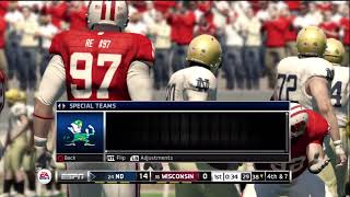 NCAA Football 13 Online Gameplay: Wisconsin (envinceable03) vs. Notre Dame (Kush77)