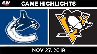 NHL Highlights   Canucks vs. Penguins – Nov. 27, 2019