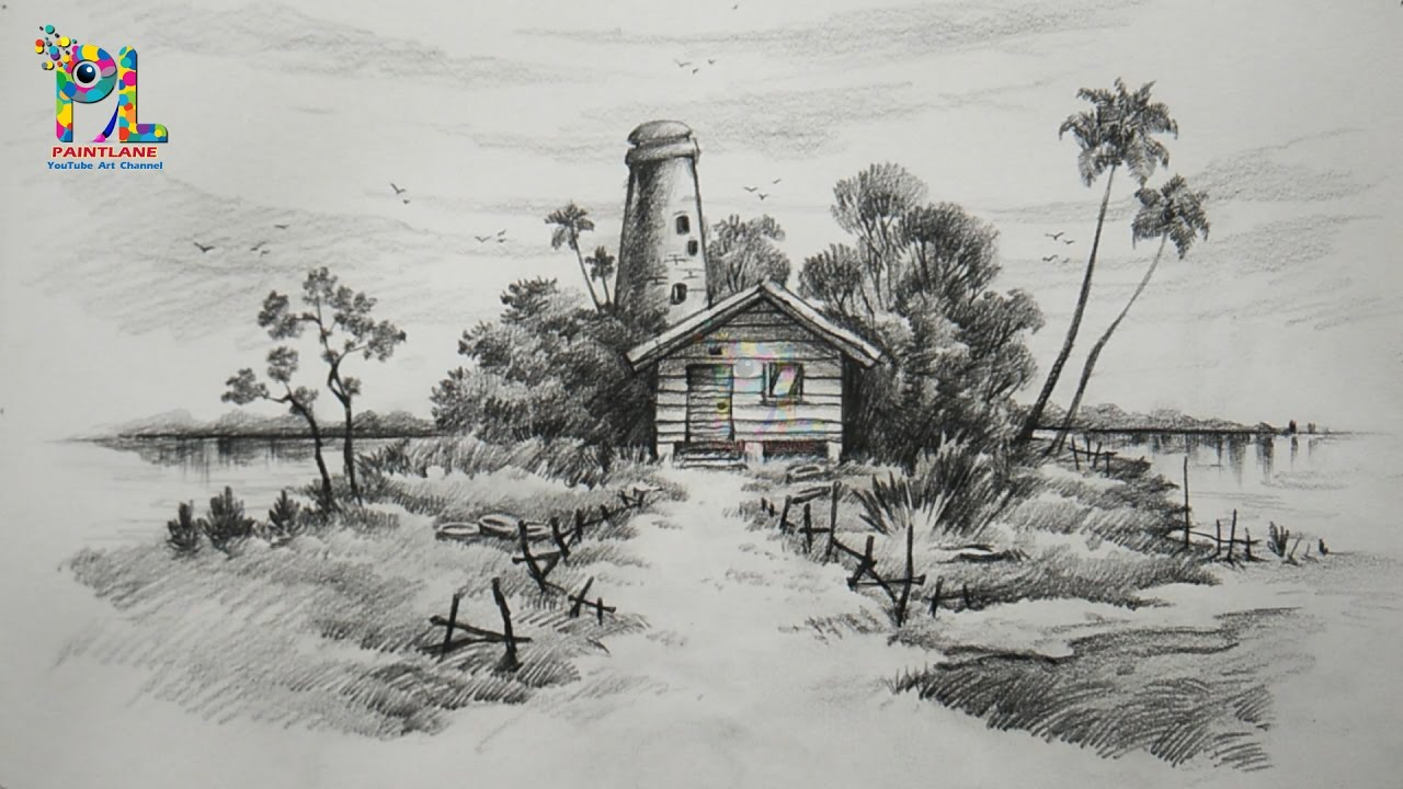 Learn easy simple shading a landscape with pencil landscape pencil art