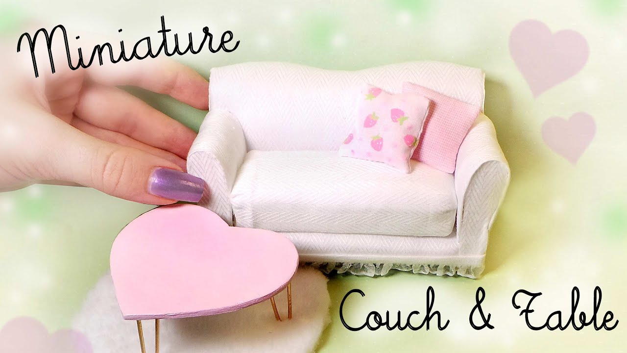 Cute Miniature Couch & Table Tutorial // Dolls/Dollhouse ...