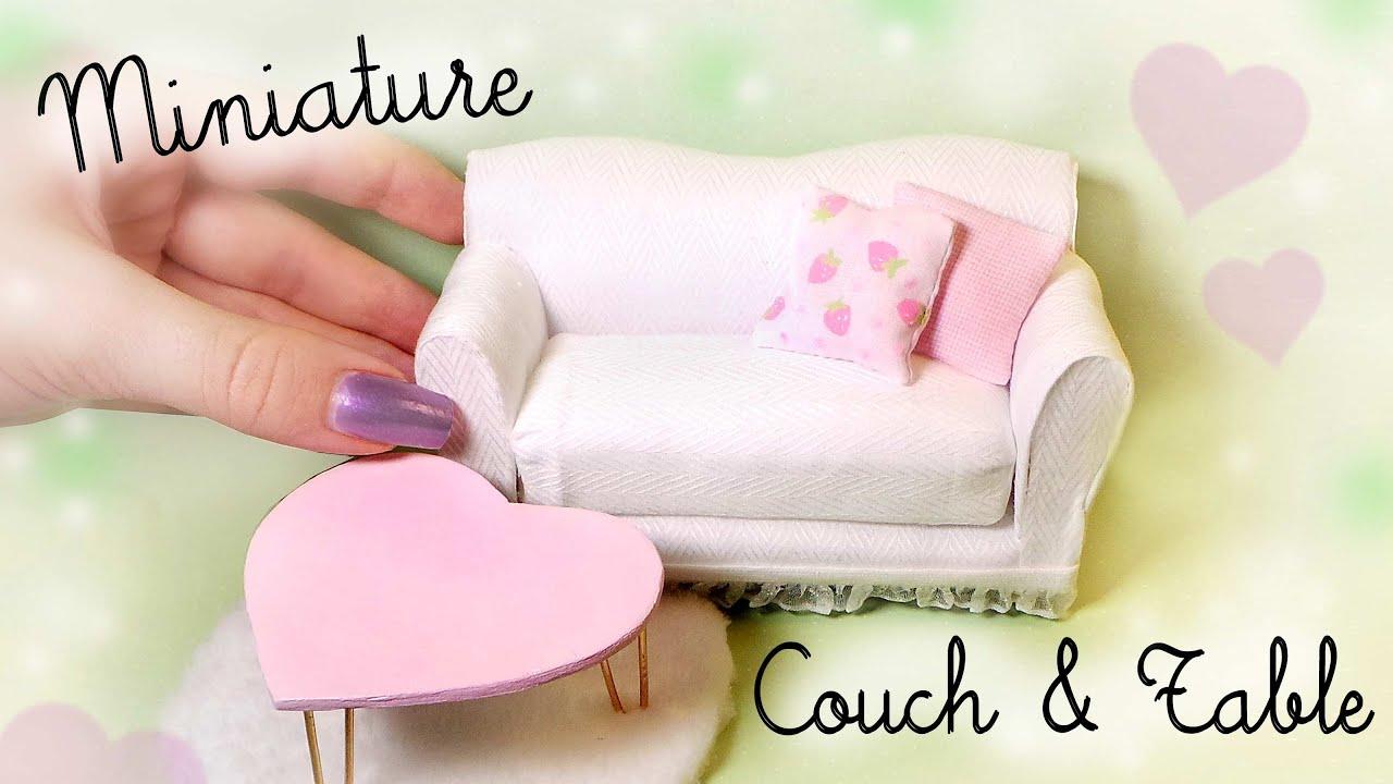 Cute Miniature Couch & Table Tutorial // Dolls/Dollhouse