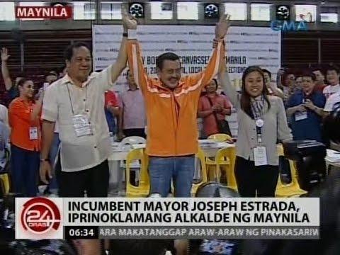 24 Oras: Incumbent Mayor Estrada, iprinoklamang alkalde ng Maynila