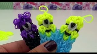 Брелки Миньоны из резинок радужек на станке How to make minion charm Rainbow Loom   русский
