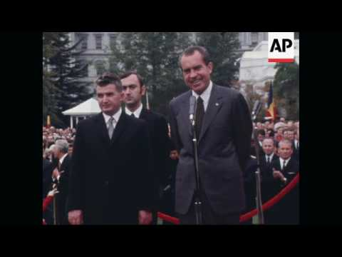 Nixon welcomes Romanian president, Ceausescu, to White House