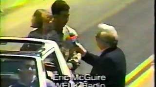 mike simons of wboy in 1993 strawberry festival parade with eric mcguire