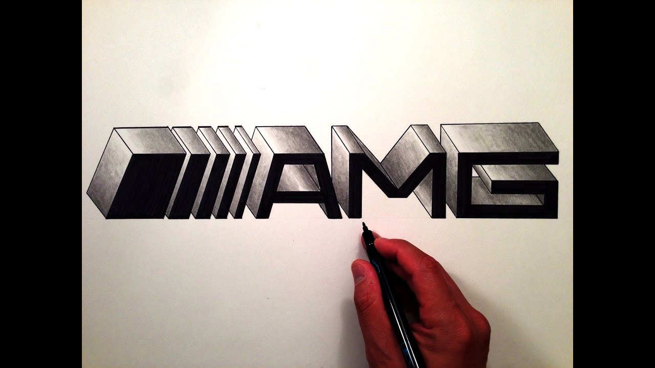 how to draw the mercedes benz amg logo in 3d youtube. Black Bedroom Furniture Sets. Home Design Ideas