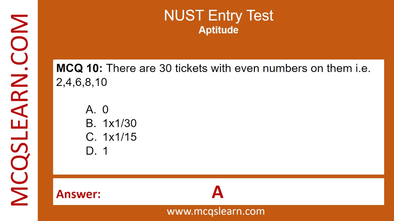 Entry test of nust sample papers