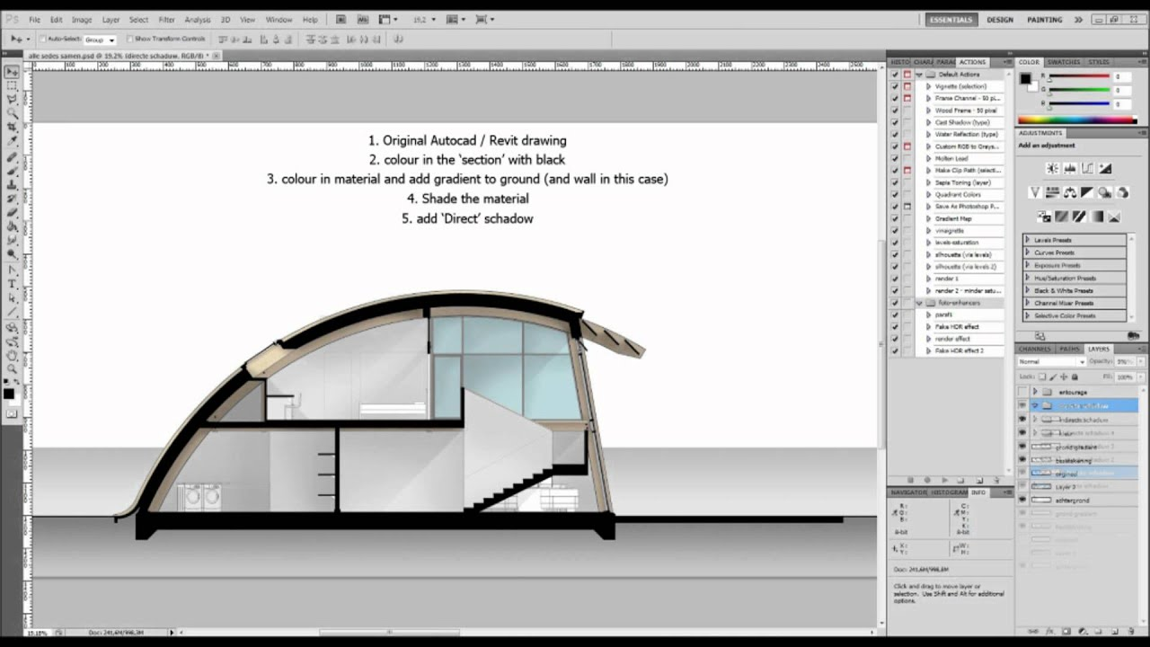 Colouring In An Architectural Plan With Ps Youtube